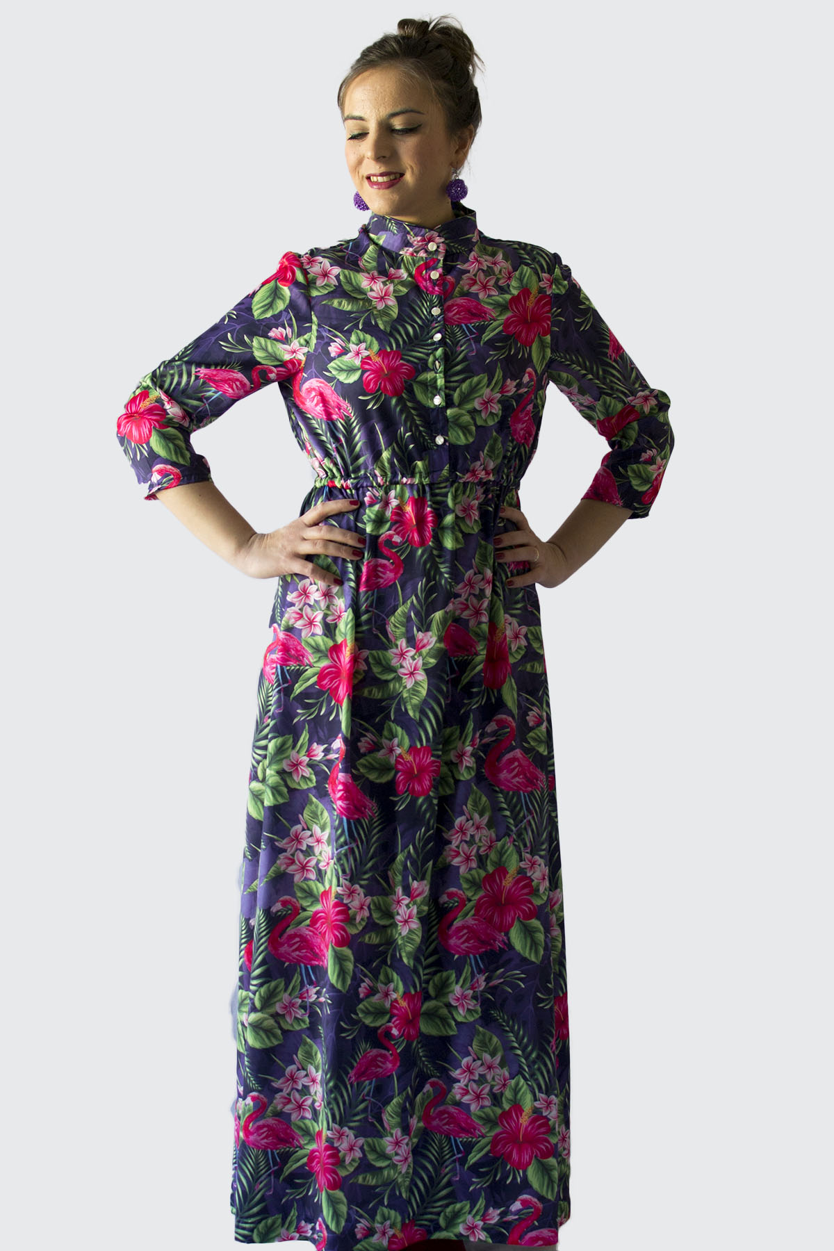 A maxi Florence dress with Flamingos