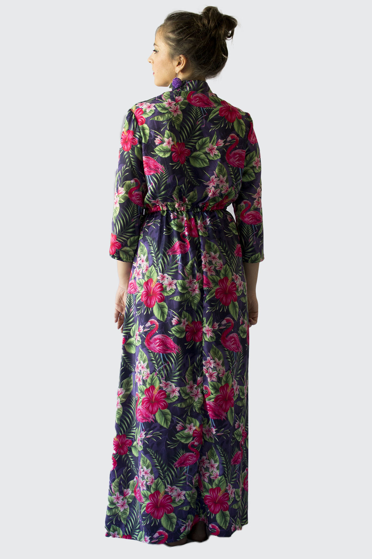 A maxi Florence dress with Flamingos