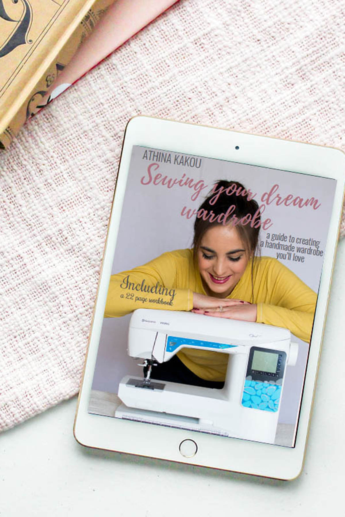 picture of tablet with Sewing Your Dream Wardrobe e-book